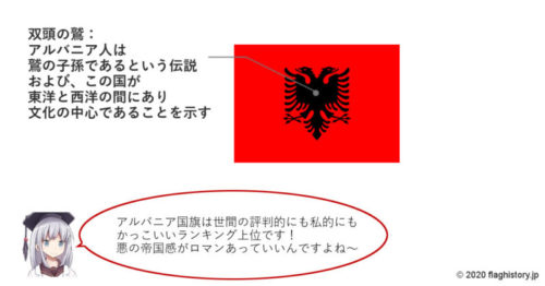 アルバニア国旗の意味図解イラスト