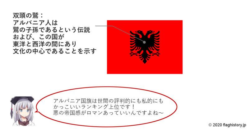 アルバニア国旗の意味と由来、似てる国旗は?