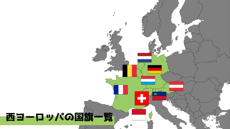 西ヨーロッパの国旗と場所