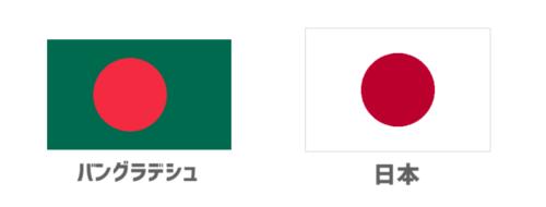 バングラデシュ国旗と日本国旗